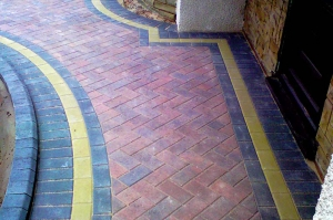 Ground works with block paving and slabbing